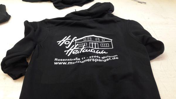 Hof Heitman Logo Rücken auf Sweatshirtjacke mit Flexdruck