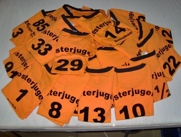 Klosterjugend Trikot Orange mit schwarzem Flexdruck Schrift und Nummer