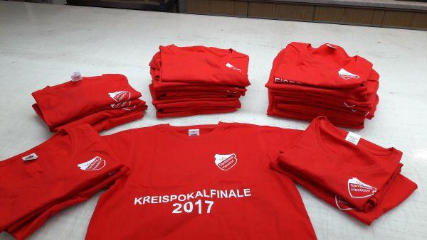 Kreispokalfinale 2017 Rotes Shirt mit Weißem Flexdruck