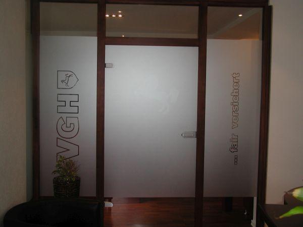 VHG Glasdekor mit Logo und Schrift
