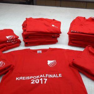 SG Sandborstel Hesedorf Sport Tshirt in Rot mit Weißem Logo und Kreispokalfinale 2017 bedruckt